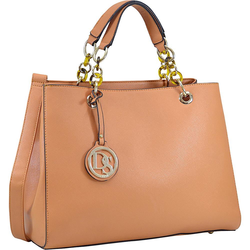 Dasein Saffiano Faux Leather Chain Strap Satchel Brown - Dasein Manmade Handbags - Handbags, Manmade Handbags