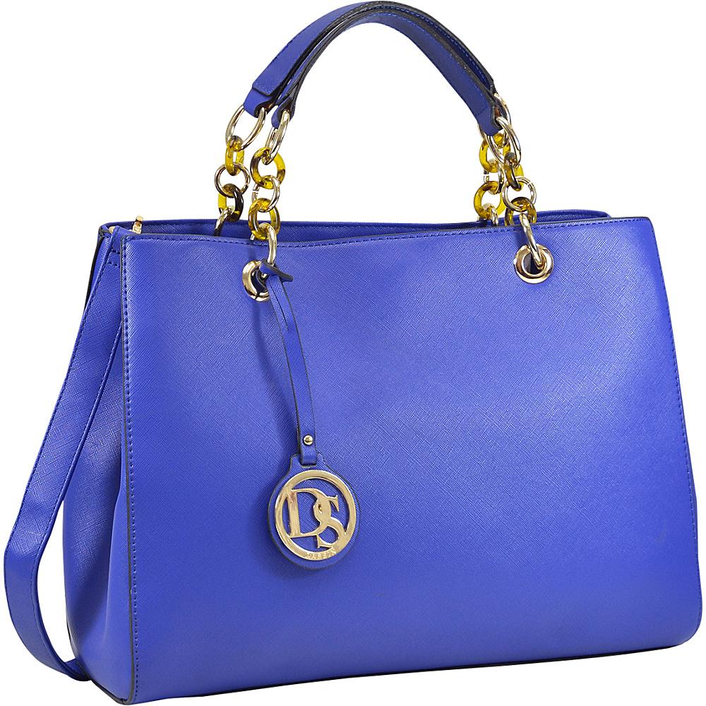 Dasein Saffiano Faux Leather Chain Strap Satchel Blue - Dasein Manmade Handbags - Handbags, Manmade Handbags