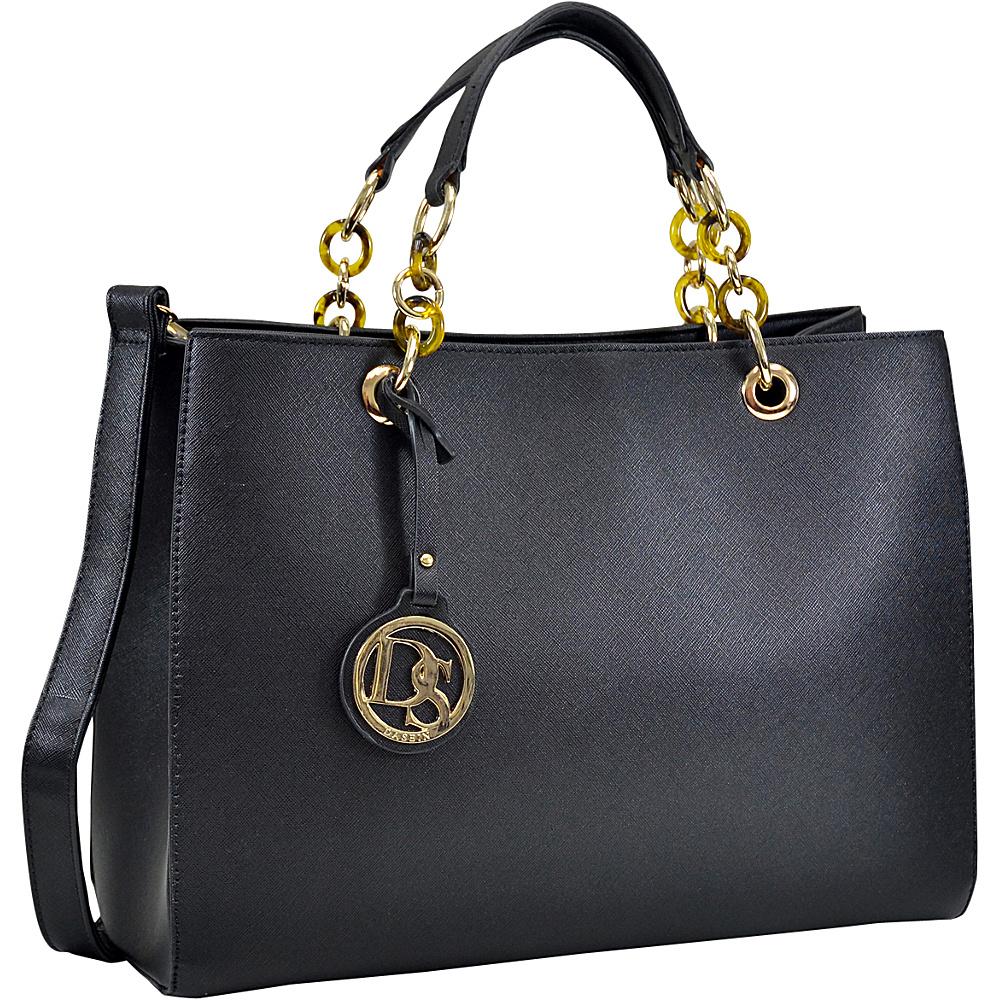 Dasein Saffiano Faux Leather Chain Strap Satchel Black - Dasein Manmade Handbags - Handbags, Manmade Handbags