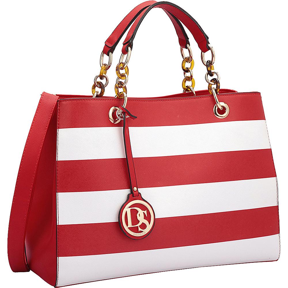 Dasein Saffiano Faux Leather Chain Strap Satchel Red/White - Dasein Manmade Handbags - Handbags, Manmade Handbags