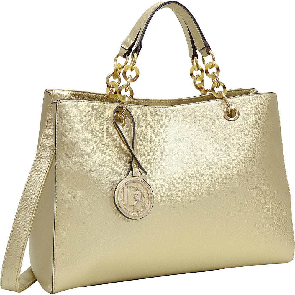 Dasein Saffiano Faux Leather Chain Strap Satchel Gold - Dasein Manmade Handbags - Handbags, Manmade Handbags