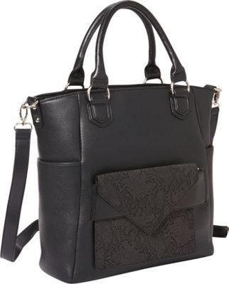 Hang Accessories Reptile Tablet Crossbody Tote Bag Black - Hang Accessories Manmade Handbags