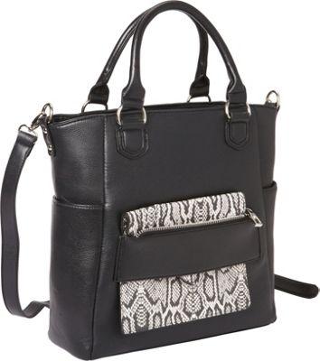 Hang Accessories Reptile Tablet Crossbody Tote Bag Black/White - Hang Accessories Manmade Handbags