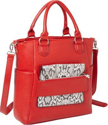 Hang Accessories Reptile Tablet Crossbody Tote Bag Red - Hang Accessories Manmade Handbags