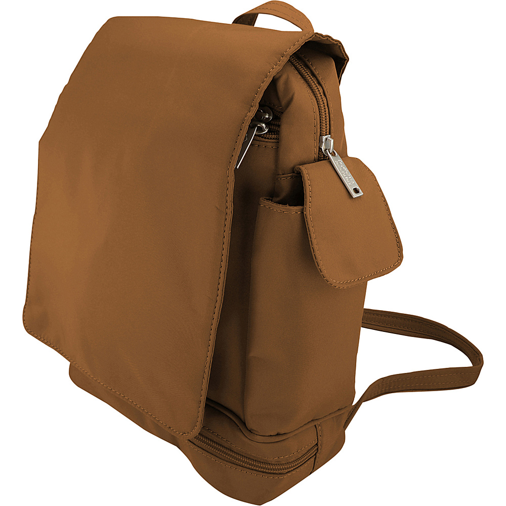 BeSafe by DayMakers Anti Theft Convertible Backpack with Flap Camel BeSafe by DayMakers Fabric Handbags