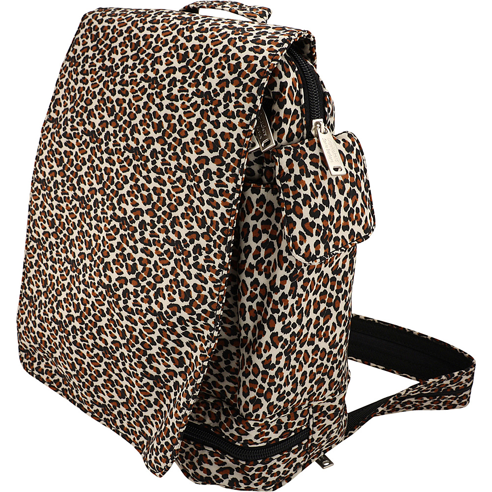 BeSafe by DayMakers Anti Theft Convertible Backpack with Flap Leopard BeSafe by DayMakers Fabric Handbags