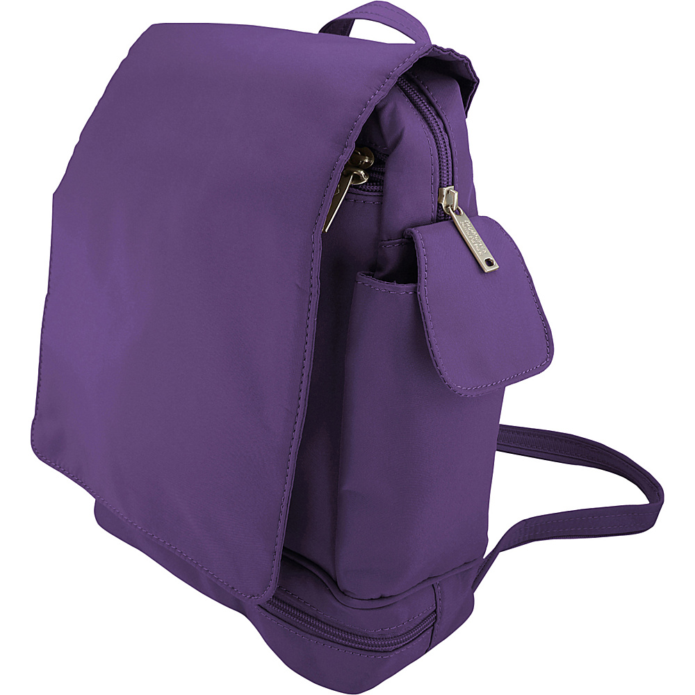 BeSafe by DayMakers Anti Theft Convertible Backpack with Flap Purple BeSafe by DayMakers Fabric Handbags