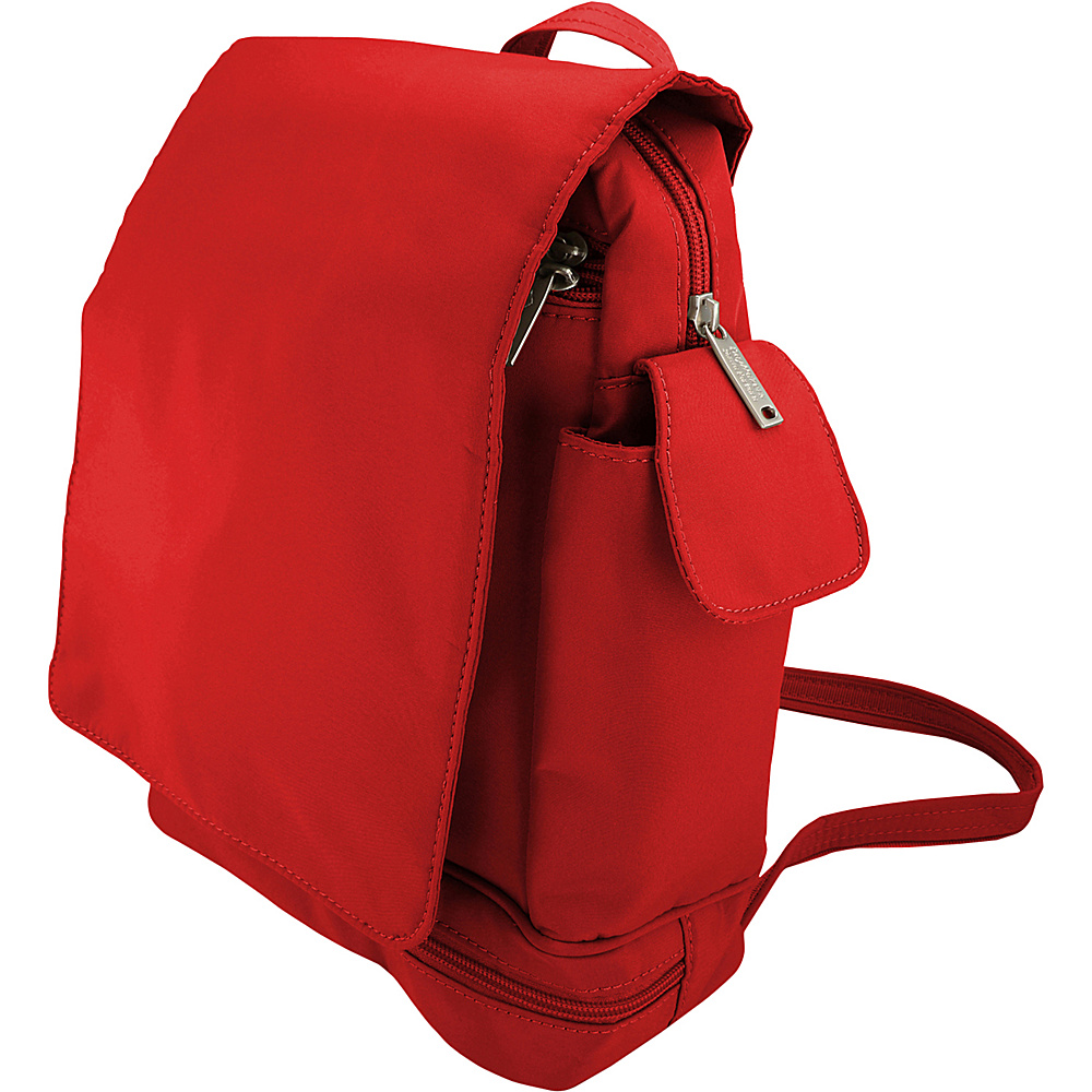 BeSafe by DayMakers Anti Theft Convertible Backpack with Flap Red BeSafe by DayMakers Fabric Handbags