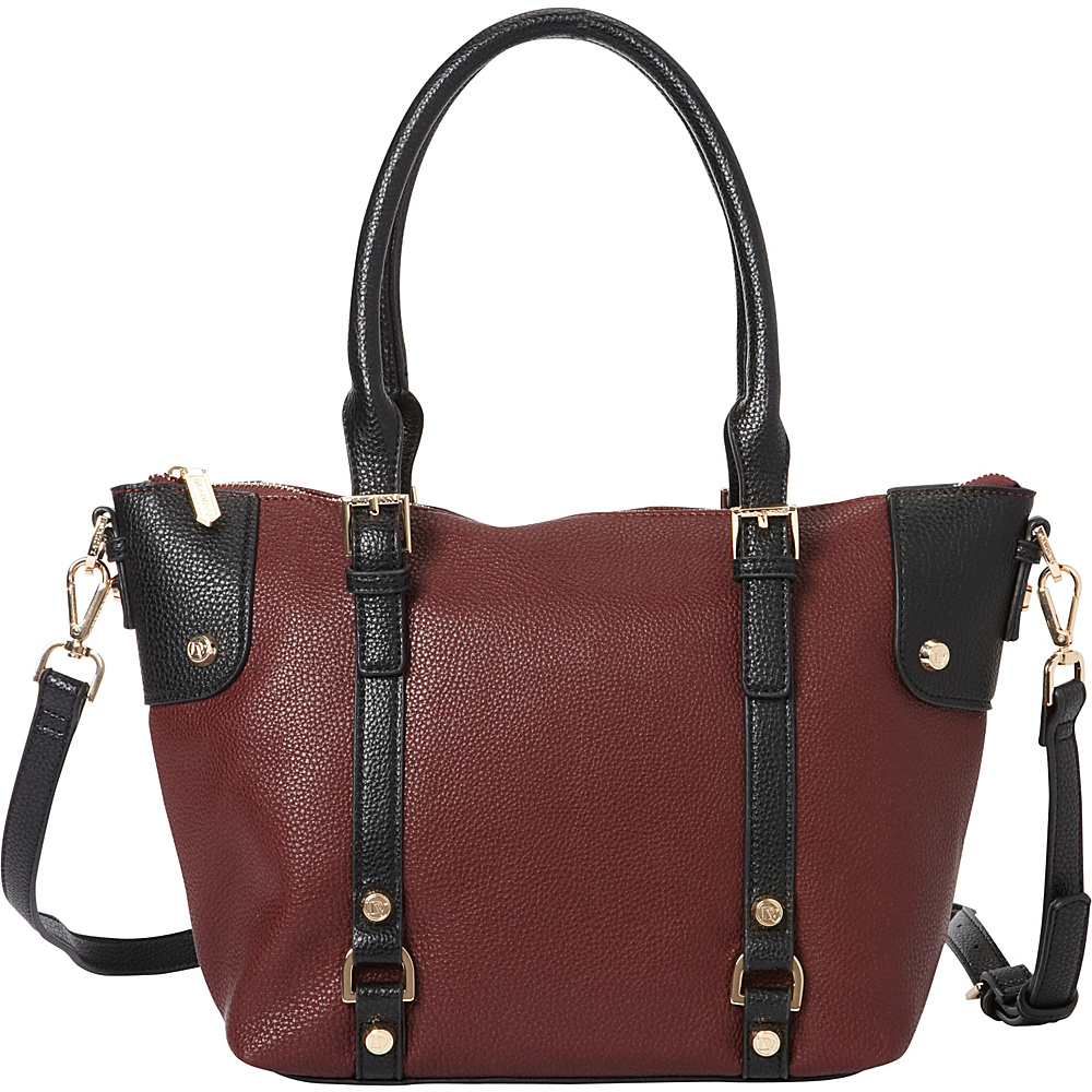 La Diva Tara Two Tone Satchel Burgundy Black La Diva Manmade Handbags