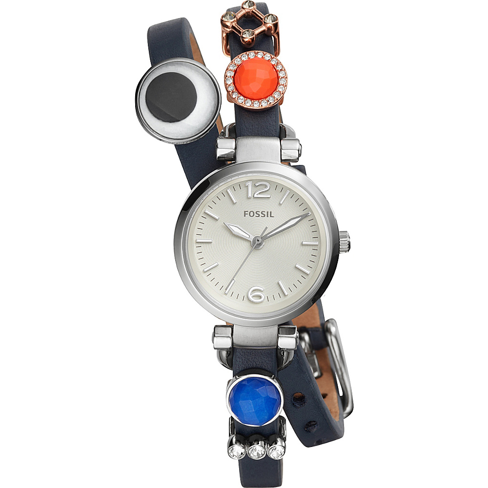 Fossil Georgia Three-Hand Leather Watch and Charm Box Set Silver - Fossil Watches - Fashion Accessories, Watches
