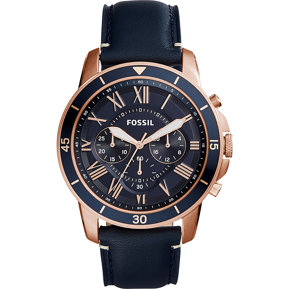 Fossil Grant Sport Chronograph Leather Watch Blue - Fossil Watches - Fashion Accessories, Watches