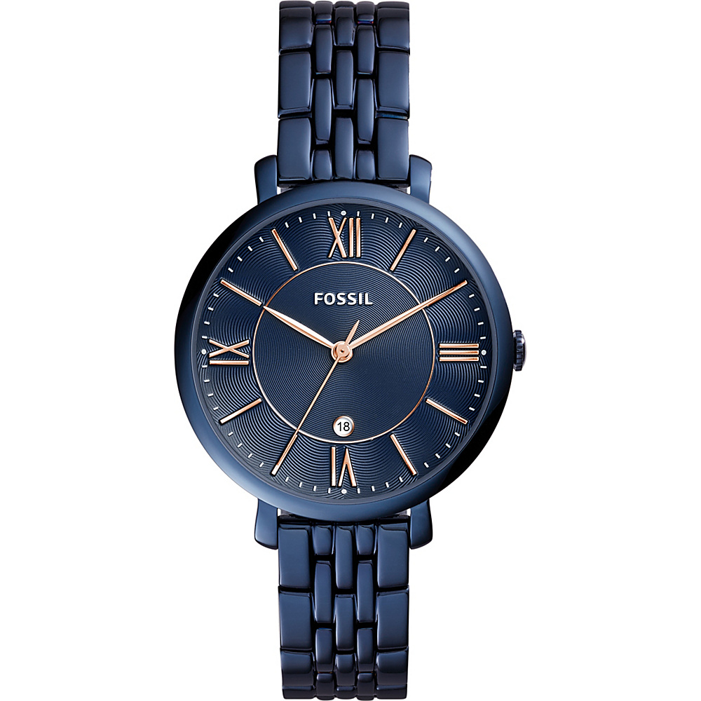 Fossil Jacqueline Three-Hand Stainless Steel Watch Blue - Fossil Watches - Fashion Accessories, Watches