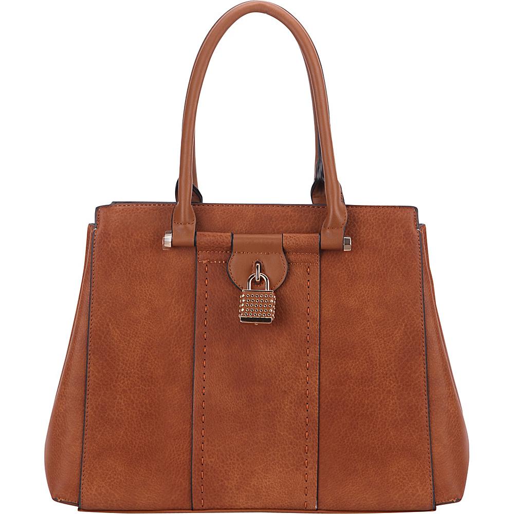 MKF Collection by Mia K. Farrow Tansy Padlock Satchel Brown - MKF Collection by Mia K. Farrow Manmade Handbags - Handbags, Manmade Handbags