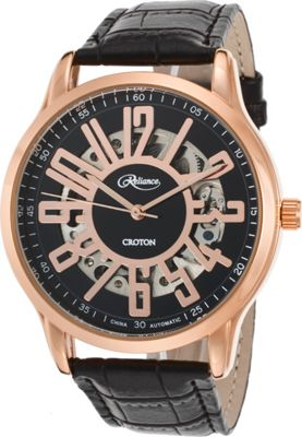 croton mens reliance automatic leather watche new
