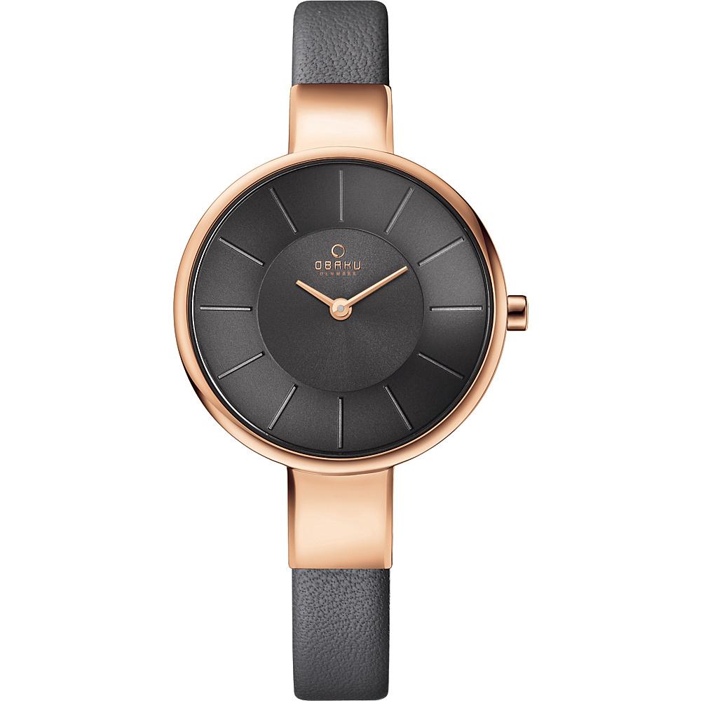 Obaku Watches Womens Leather Watch Grey Rose Gold Obaku Watches Watches