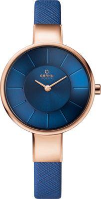 Obaku Watches Womens Leather Watch Blue/Rose Gold - Obaku Watches Watches