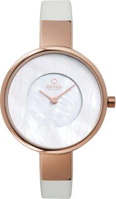 Obaku Watches Womens Leather Watch White/Rose Gold - Obaku Watches Watches