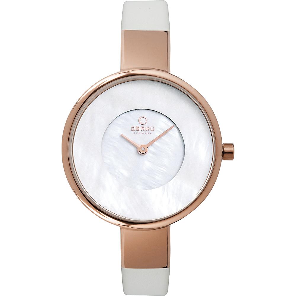 Obaku Watches Womens Leather Watch White Rose Gold Obaku Watches Watches