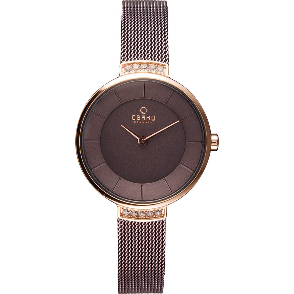 Obaku Watches Womens Stainless Steel Mesh Watch Brown Rose Gold Obaku Watches Watches