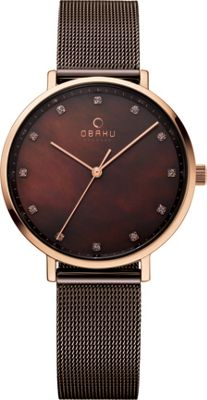 Obaku Watches Womens Mother of Pearl Stainless Steel Watch Brown/Rose Gold - Obaku Watches Watches