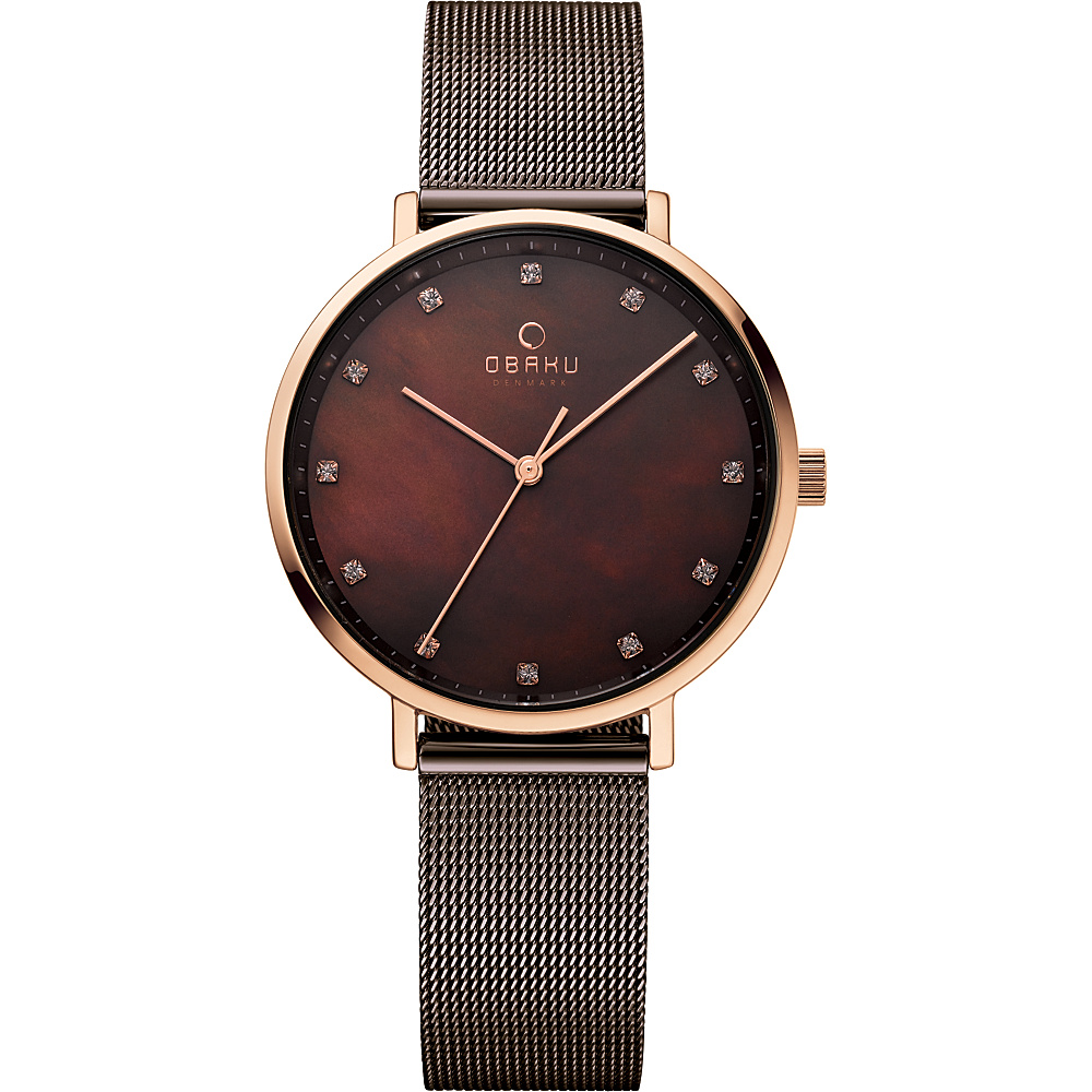 Obaku Watches Womens Mother of Pearl Stainless Steel Watch Brown Rose Gold Obaku Watches Watches
