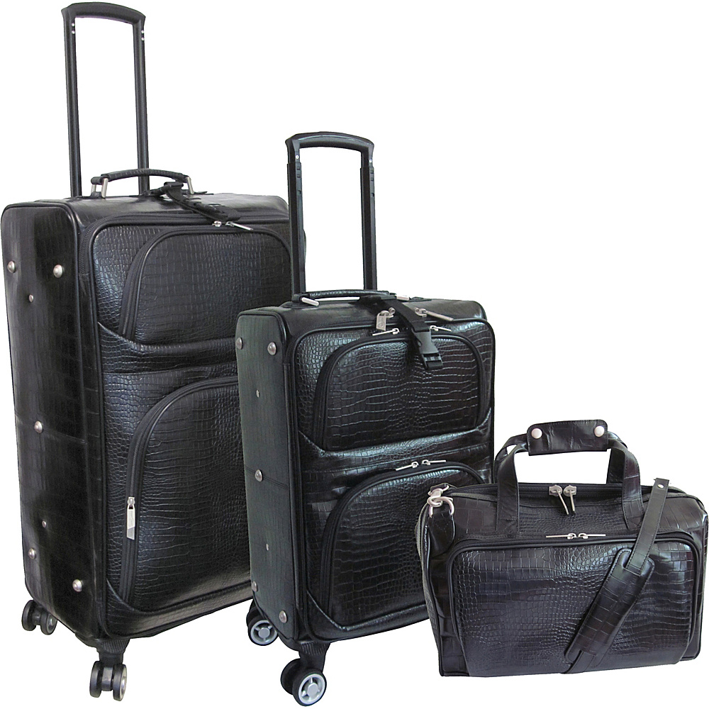 AmeriLeather Traveler Croco Print Leather 3pc Spinner Luggage Black - AmeriLeather Luggage Sets - Luggage, Luggage Sets