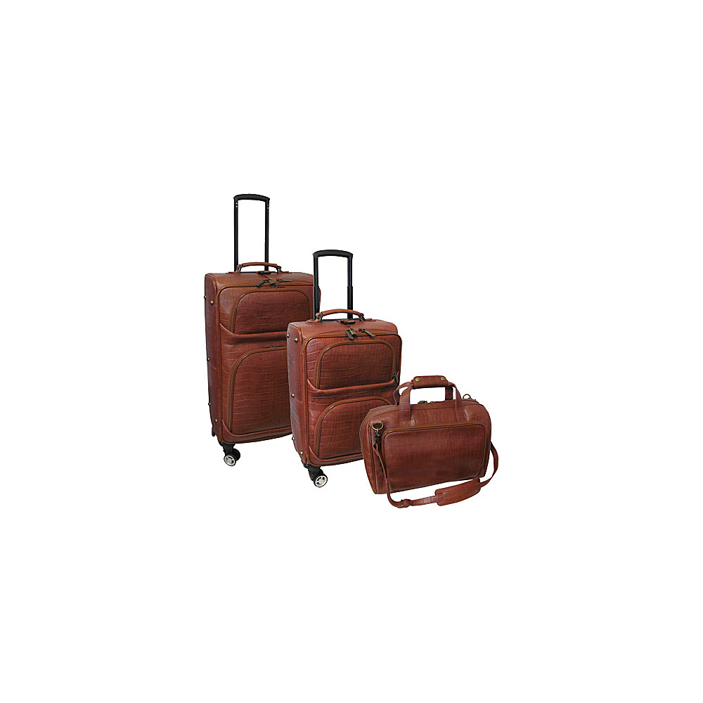 AmeriLeather Traveler Croco Print Leather 3pc Spinner Luggage Brown - AmeriLeather Luggage Sets - Luggage, Luggage Sets