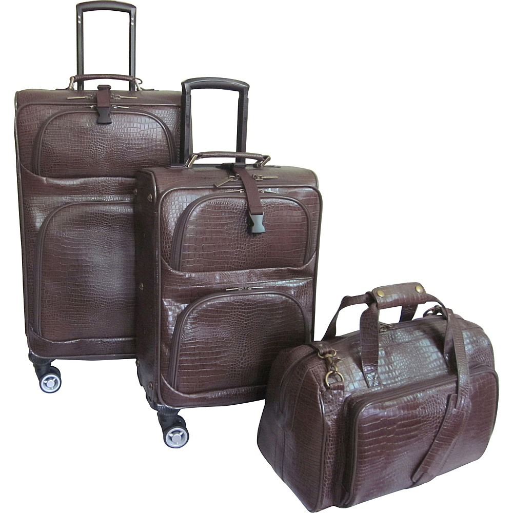 AmeriLeather Traveler Croco Print Leather 3pc Spinner Luggage Waxy Brown - AmeriLeather Luggage Sets - Luggage, Luggage Sets