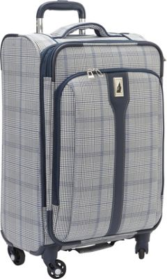 London Fog Knightsbridge Hyperlight 21 inch Expandable Spinner Carry On Grey/Navy Plaid - London Fog Softside Carry-On