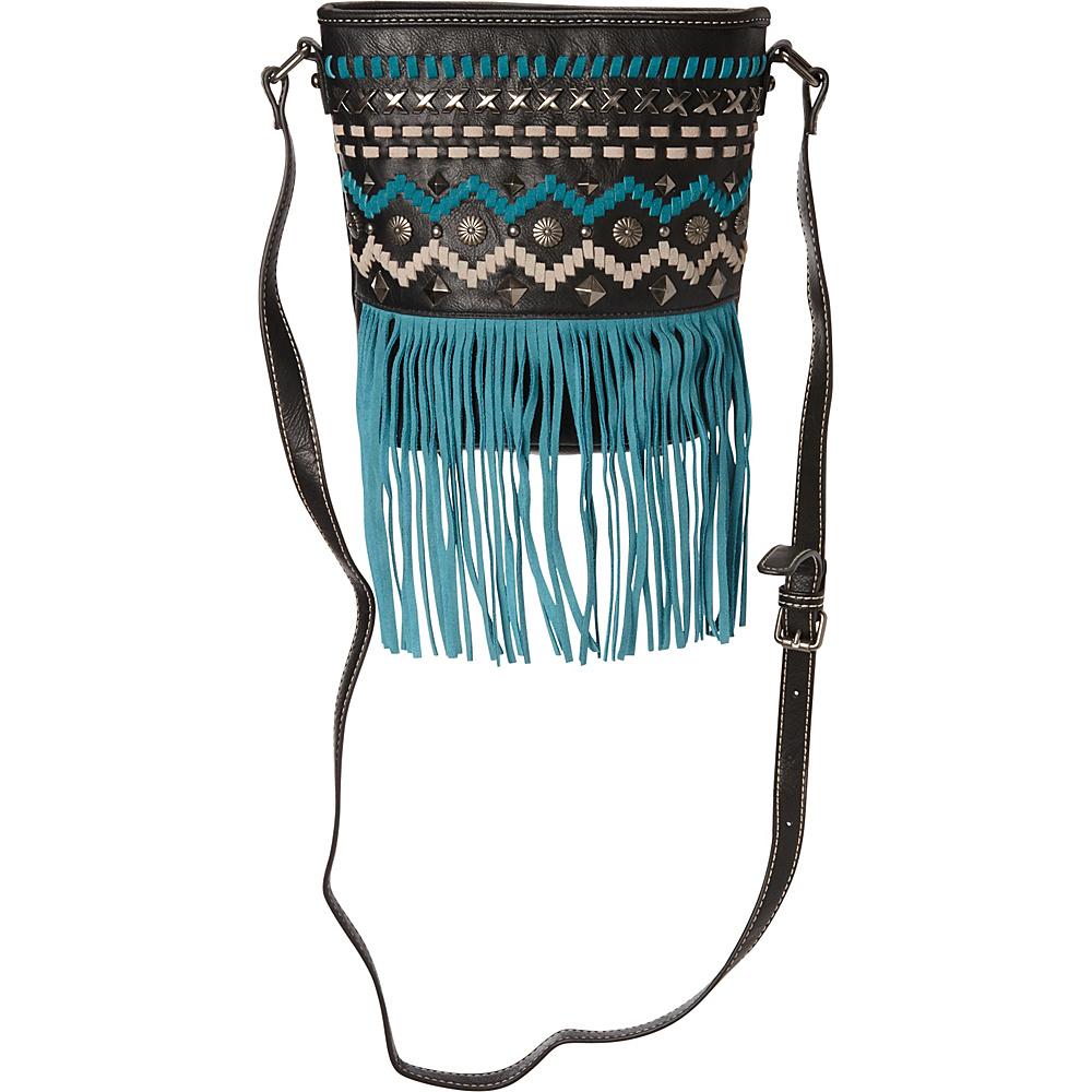 Montana West Fringe Collection Messenger Bag Black Montana West Manmade Handbags