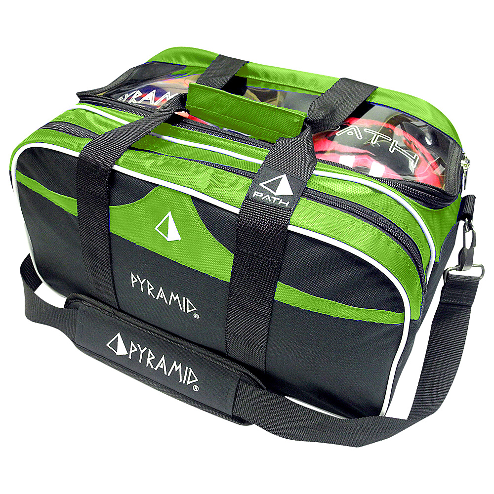 Pyramid Path Double Tote Plus Clear Top Bowling Bag Lime Green Pyramid Bowling Bags