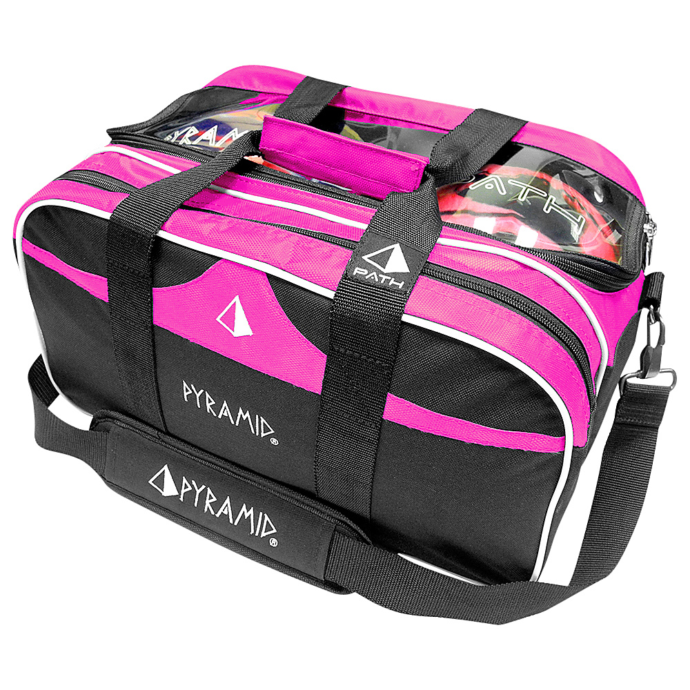 Pyramid Path Double Tote Plus Clear Top Bowling Bag Hot Pink Pyramid Bowling Bags