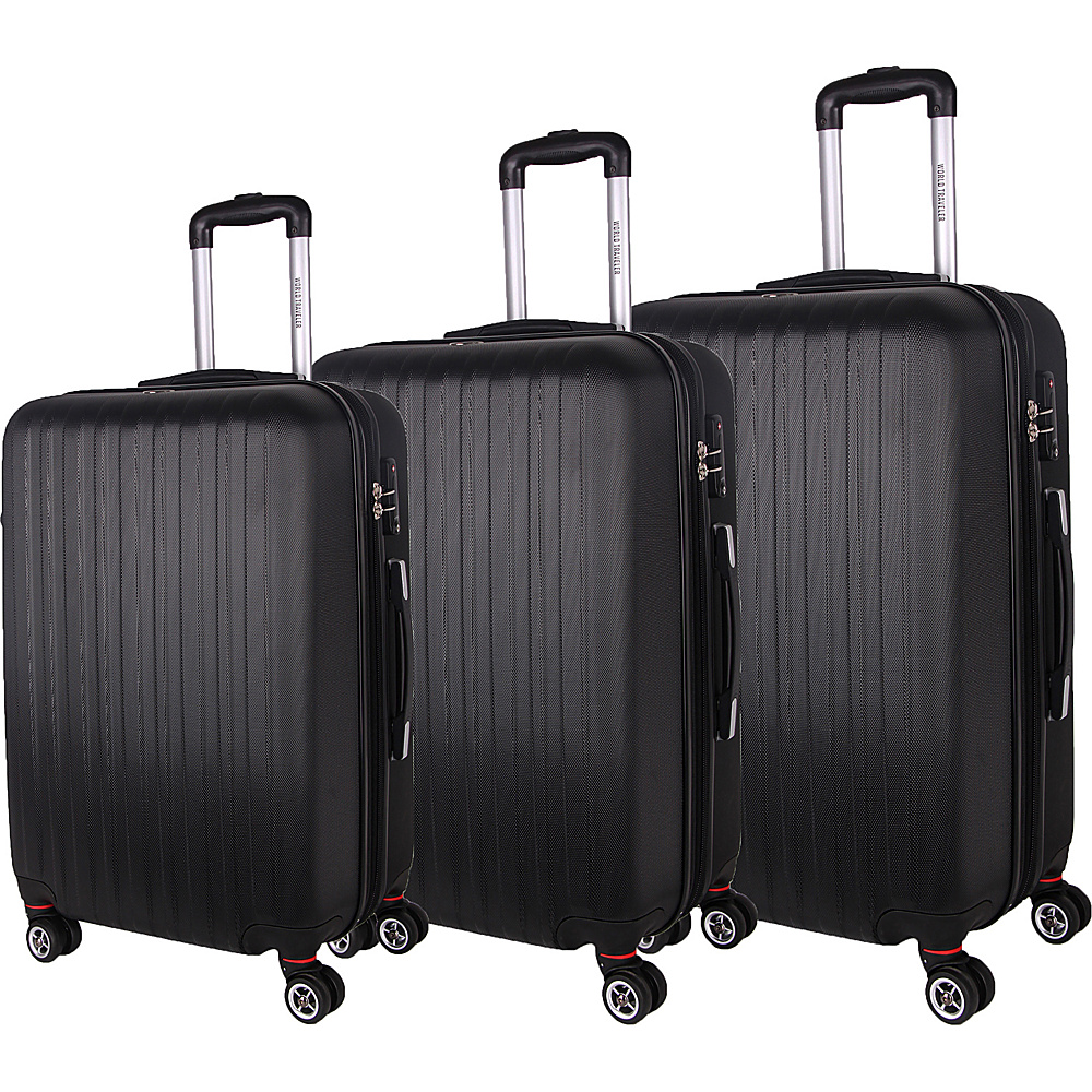 World Traveler Barcelona 3-Piece Hardside Spinner Luggage Set Black - World Traveler Luggage Sets - Luggage, Luggage Sets