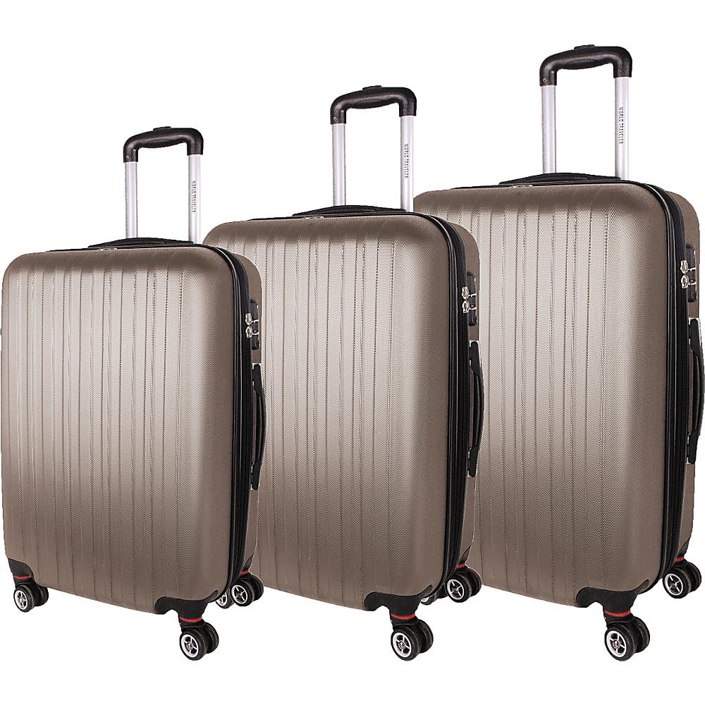 World Traveler Barcelona 3-Piece Hardside Spinner Luggage Set Champagne - World Traveler Luggage Sets - Luggage, Luggage Sets