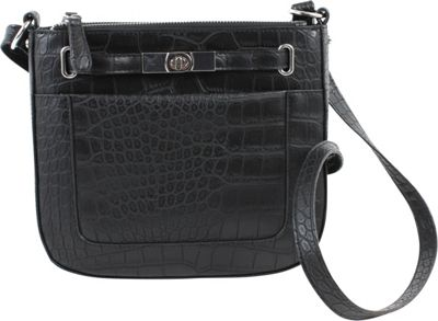 Emilie M Blake Triple Zip Crossbody Black Croco - Emilie M Leather Handbags