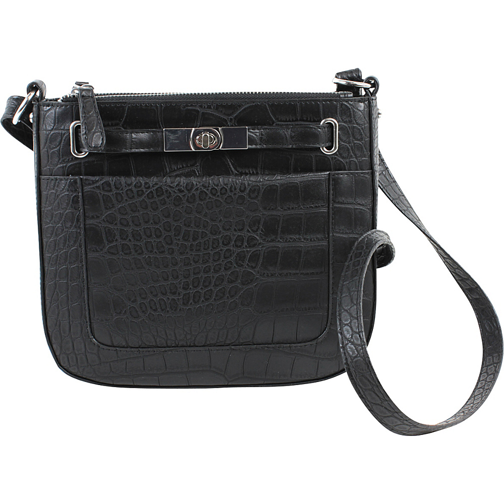 Emilie M Blake Triple Zip Crossbody Black Croco Emilie M Manmade Handbags