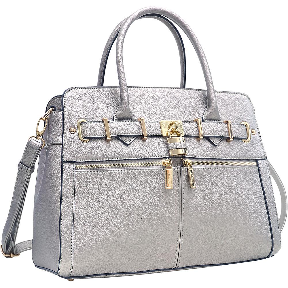 Dasein Medium Satchel with Shoulder Strap Pewter - Dasein Manmade Handbags - Handbags, Manmade Handbags
