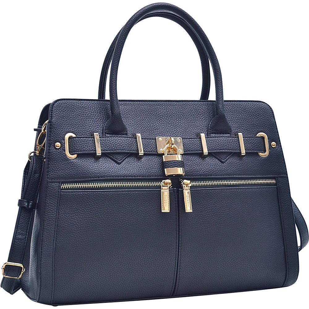 Dasein Medium Satchel with Shoulder Strap Black - Dasein Manmade Handbags - Handbags, Manmade Handbags