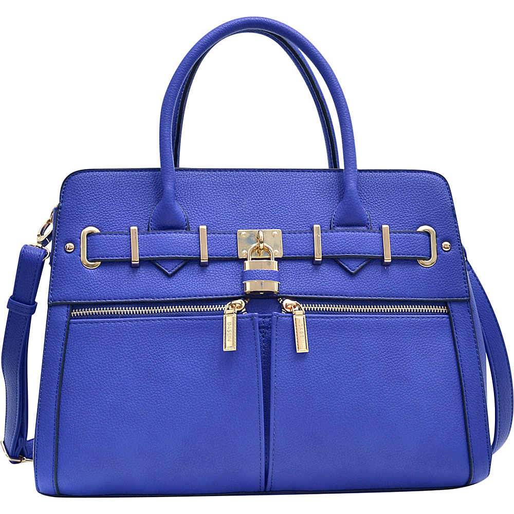 Dasein Medium Satchel with Shoulder Strap Royal Blue - Dasein Manmade Handbags - Handbags, Manmade Handbags