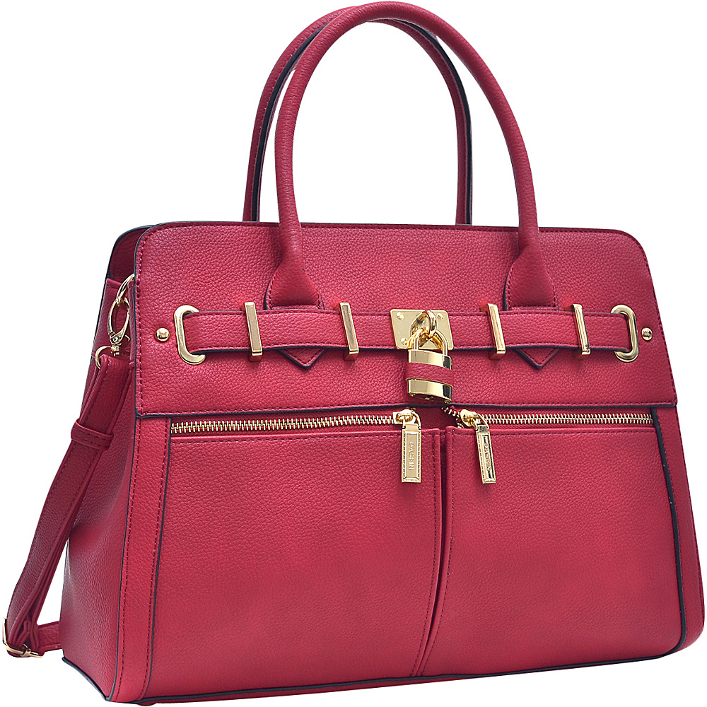Dasein Medium Satchel with Shoulder Strap Red - Dasein Manmade Handbags - Handbags, Manmade Handbags