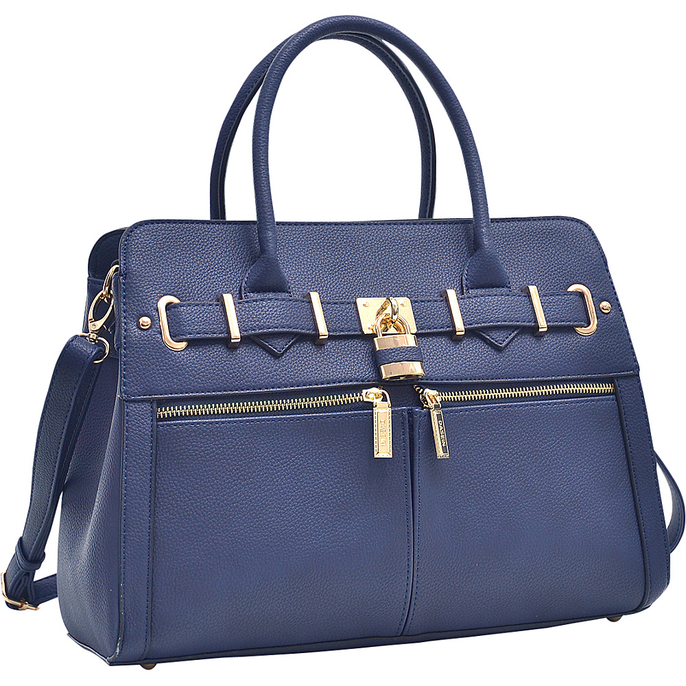 Dasein Medium Satchel with Shoulder Strap Navy Blue - Dasein Manmade Handbags - Handbags, Manmade Handbags