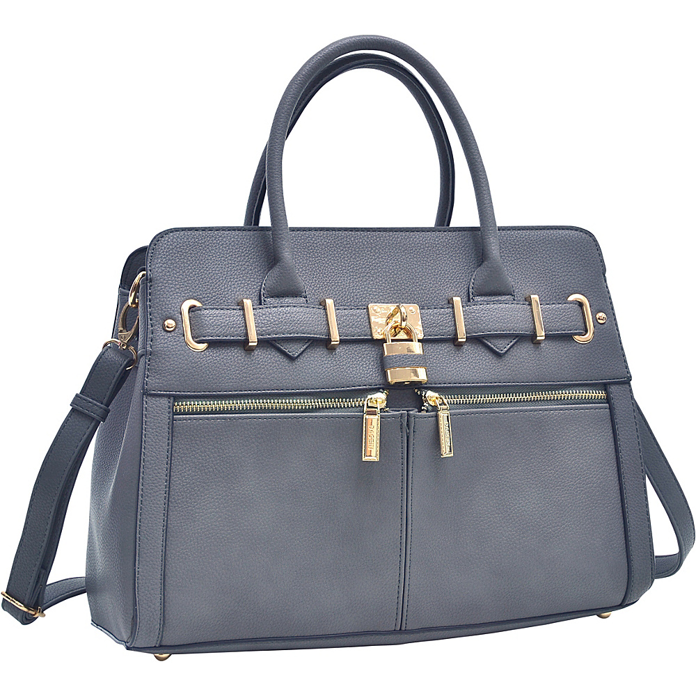 Dasein Medium Satchel with Shoulder Strap Dark Grey - Dasein Manmade Handbags - Handbags, Manmade Handbags