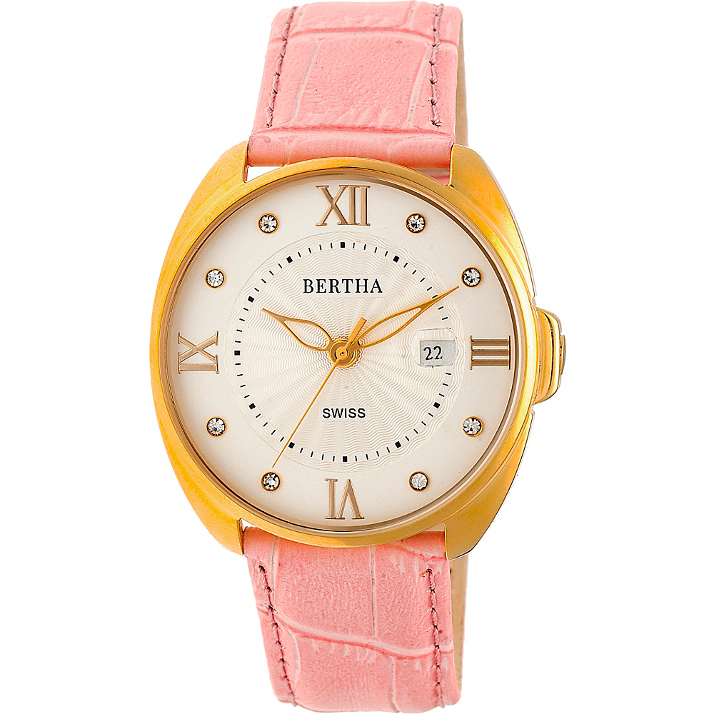 Bertha Watches Amelia Leather Ladies Watch Light Pink Bertha Watches Watches
