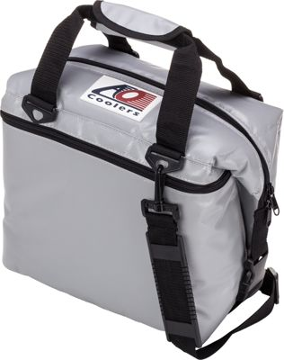 AO Coolers 12 Pack Vinyl Soft Cooler Silver - AO Coolers Outdoor Coolers