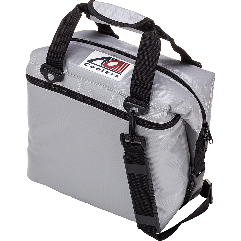 AO Coolers 12 Pack Vinyl Soft Cooler Silver AO Coolers Outdoor Coolers