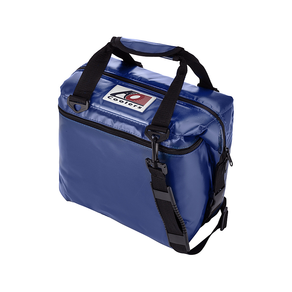 AO Coolers 12 Pack Vinyl Soft Cooler Royal Blue AO Coolers Outdoor Coolers
