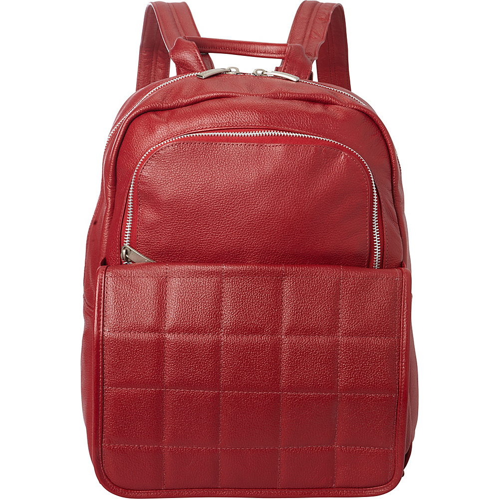 Piel Quilted Leather Backpack Red - Piel Leather Handbags - Handbags, Leather Handbags