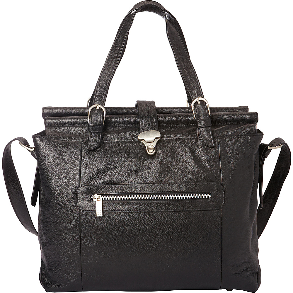 Piel Double Dowel Rod Leather Bag Black - Piel Womens Business Bags - Work Bags & Briefcases, Women's Business Bags