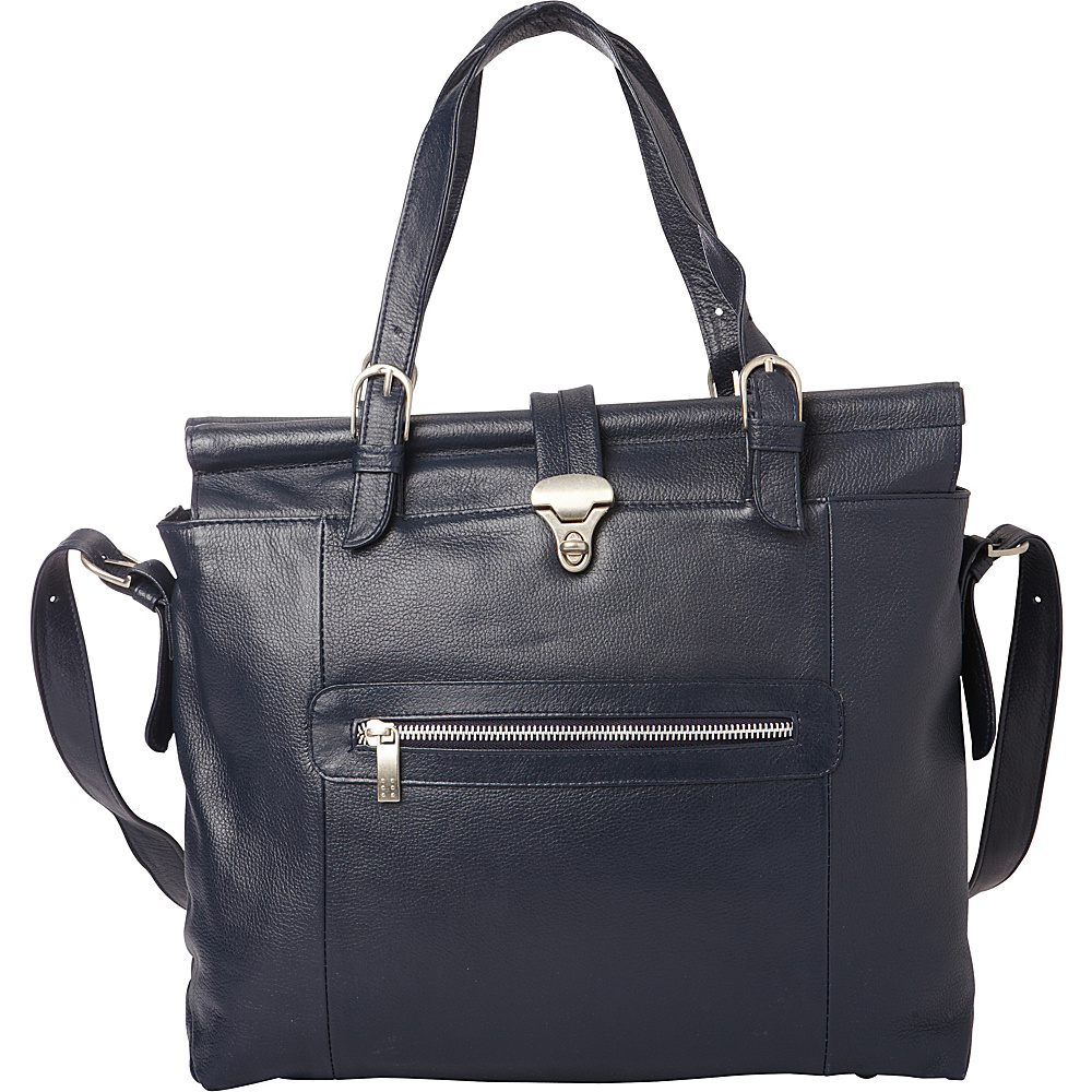Piel Double Dowel Rod Leather Bag Navy - Piel Womens Business Bags - Work Bags & Briefcases, Women's Business Bags