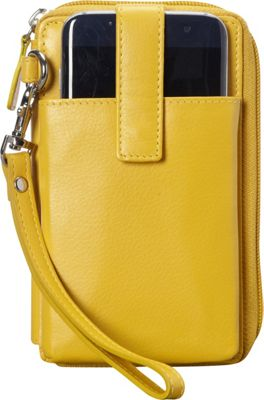 Mancini Leather Goods RFID Secure Collection: Cell Phone Wallet Mustard - Mancini Leather Goods Women's Wallets